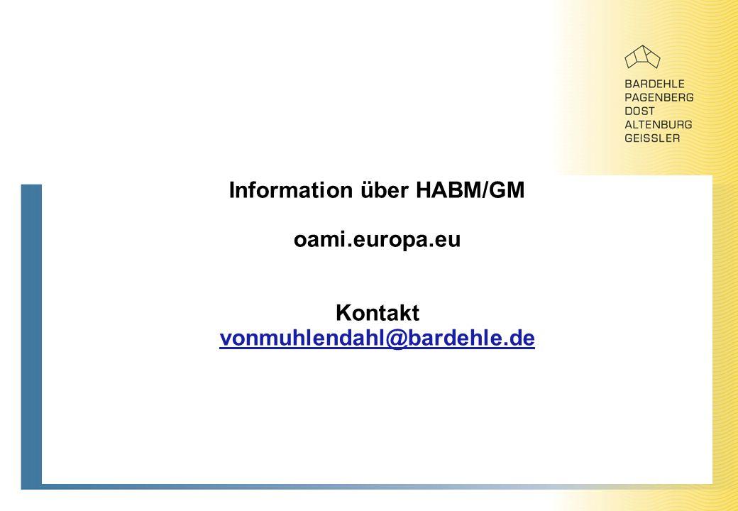 Information über HABM/GM oami.europa.eu Kontakt vonmuhlendahl@bardehle.de