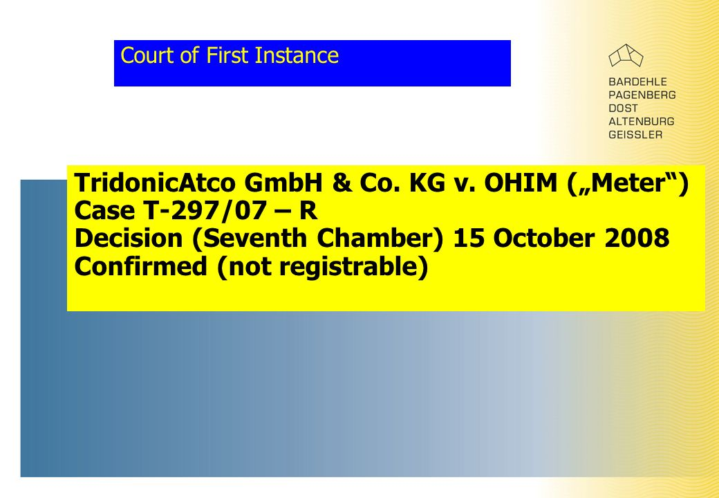 "Court of First Instance TridonicAtco GmbH & Co. KG v. OHIM (""Meter"") Case T-297/07 – R Decision (Seventh Chamber) 15 October 2008 Confirmed (not regis"