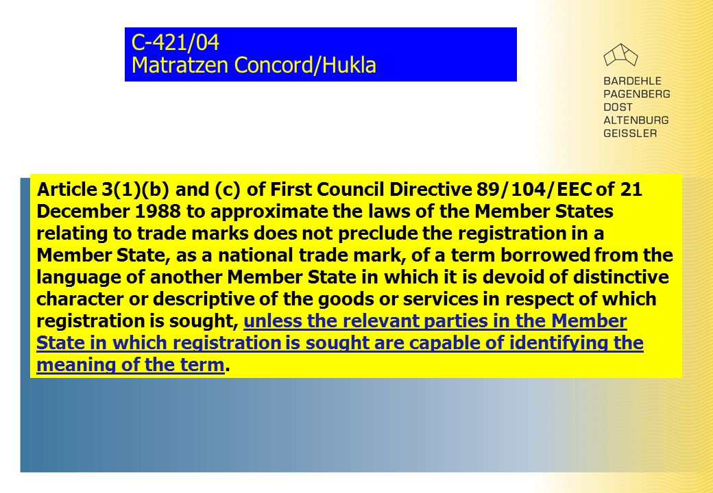 C-421/04 Matratzen Concord/Hukla Article 3(1)(b) and (c) of First Council Directive 89/104/EEC of 21 December 1988 to approximate the laws of the Memb