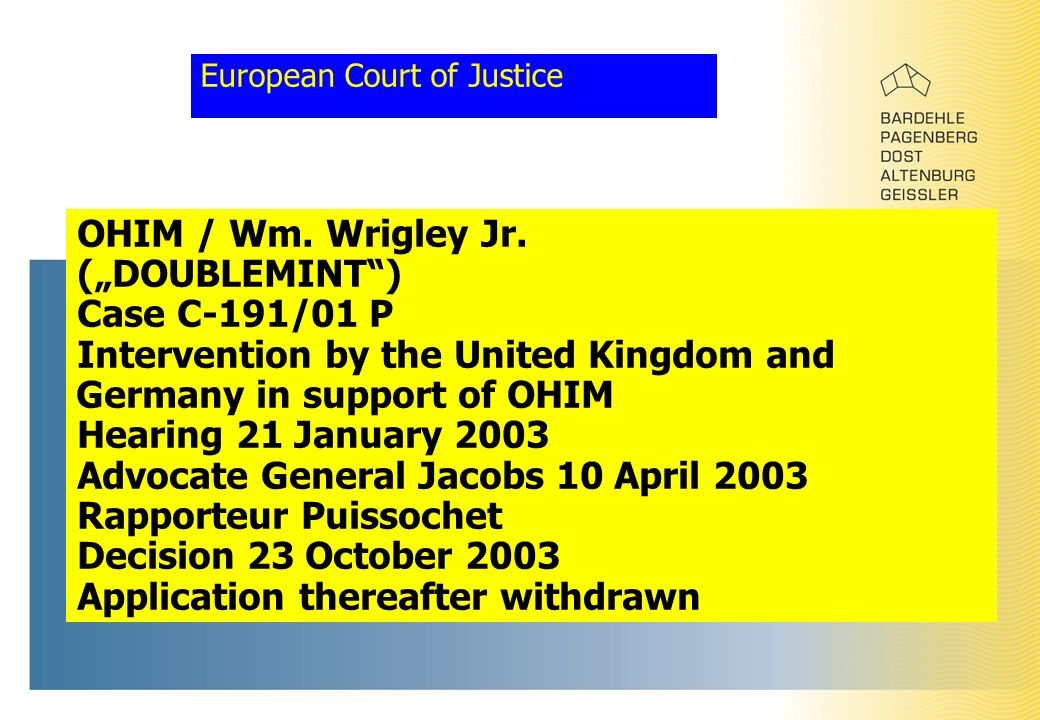 European Court of Justice OHIM / Wm. Wrigley Jr.