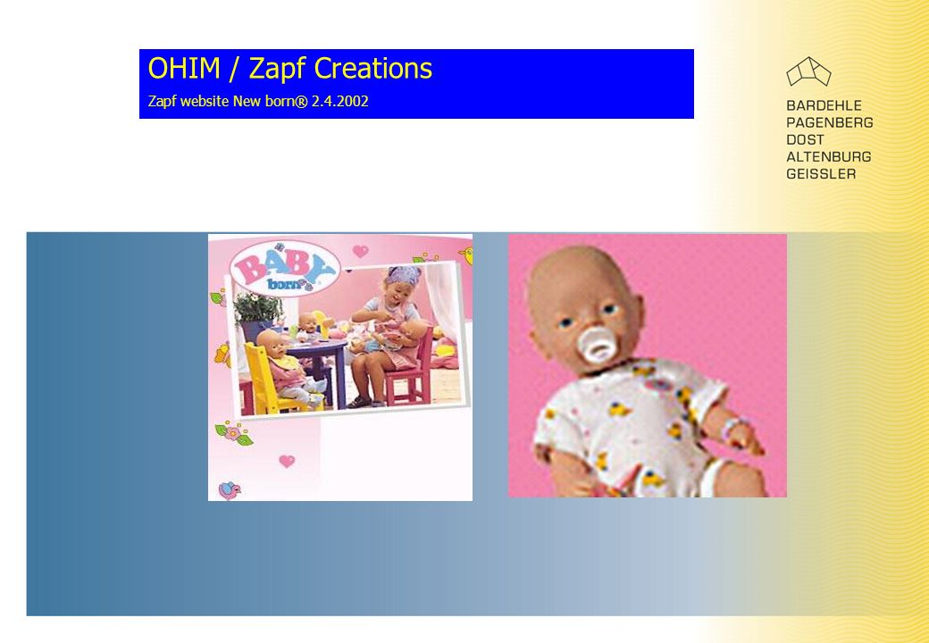 OHIM / Zapf Creations Zapf website New born® 2.4.2002