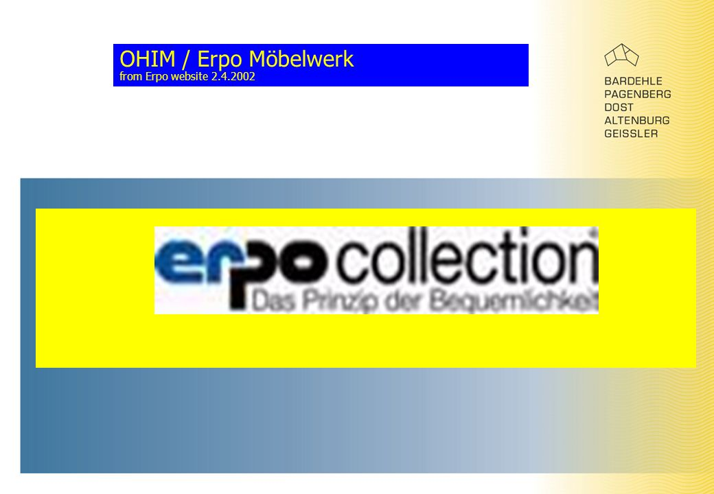 OHIM / Erpo Möbelwerk from Erpo website 2.4.2002