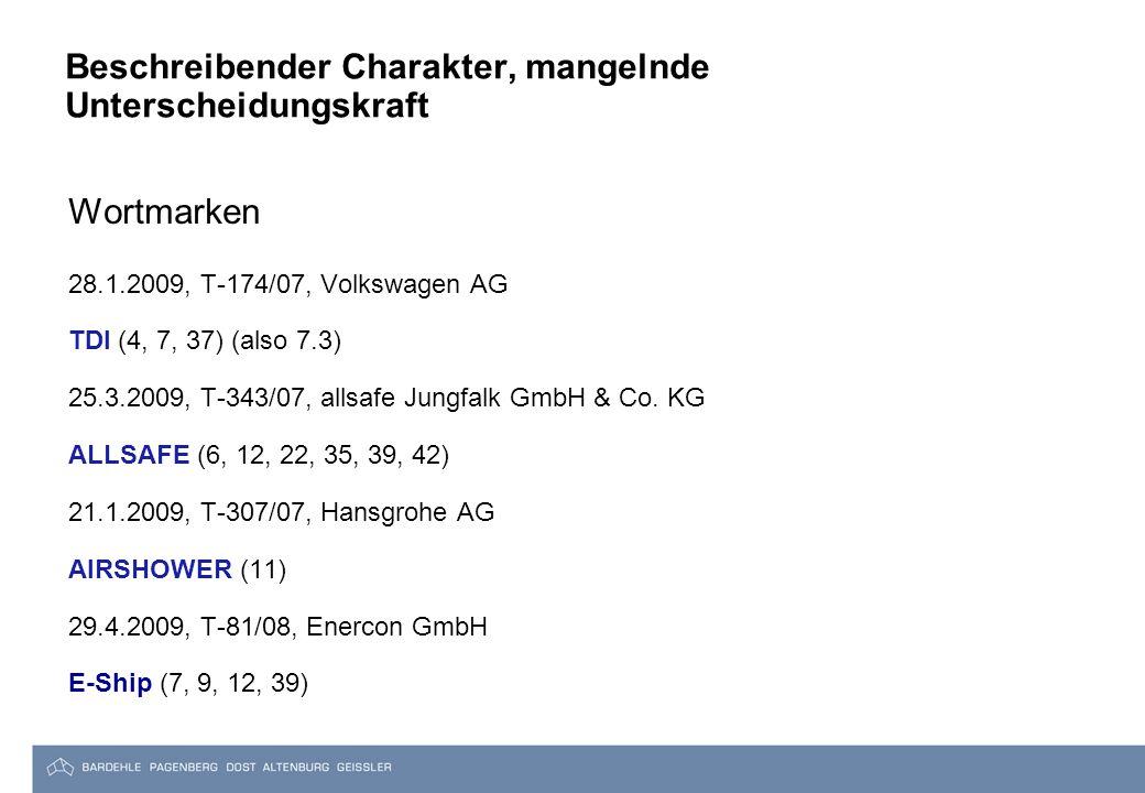 Beschreibender Charakter, mangelnde Unterscheidungskraft Wortmarken 28.1.2009, T-174/07, Volkswagen AG TDI (4, 7, 37) (also 7.3) 25.3.2009, T-343/07, allsafe Jungfalk GmbH & Co.