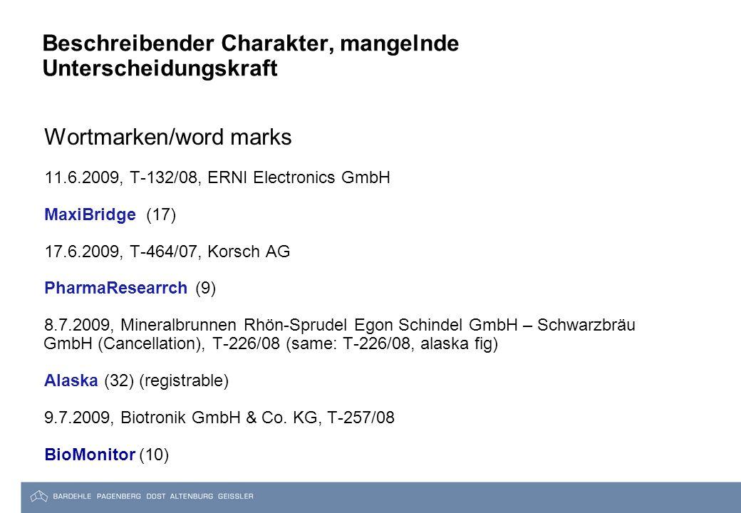 Beschreibender Charakter, mangelnde Unterscheidungskraft Wortmarken/word marks 11.6.2009, T-132/08, ERNI Electronics GmbH MaxiBridge (17) 17.6.2009, T-464/07, Korsch AG PharmaResearrch (9) 8.7.2009, Mineralbrunnen Rhön-Sprudel Egon Schindel GmbH – Schwarzbräu GmbH (Cancellation), T-226/08 (same: T-226/08, alaska fig) Alaska (32) (registrable) 9.7.2009, Biotronik GmbH & Co.