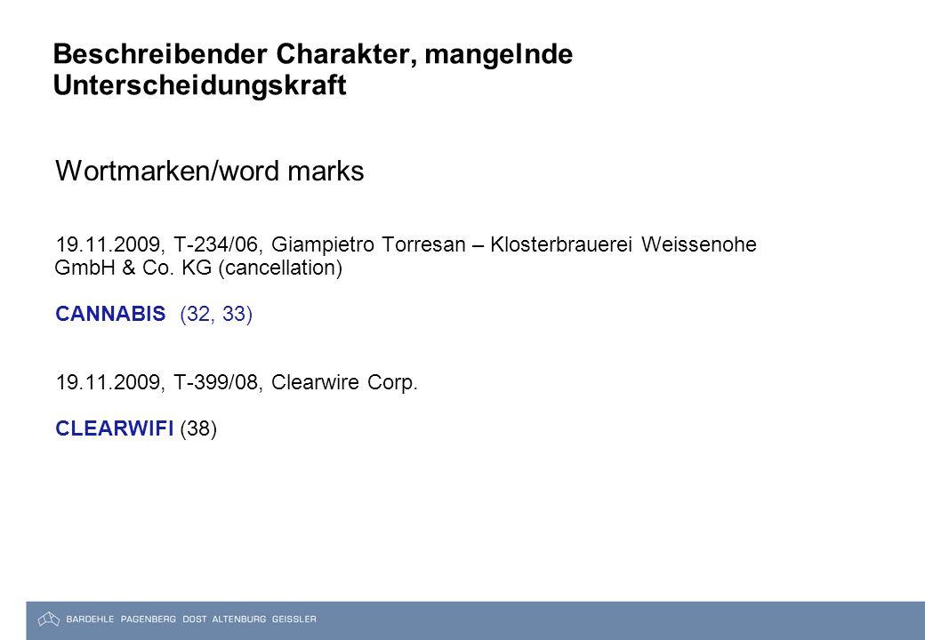 Beschreibender Charakter, mangelnde Unterscheidungskraft Wortmarken/word marks 19.11.2009, T-234/06, Giampietro Torresan – Klosterbrauerei Weissenohe GmbH & Co.