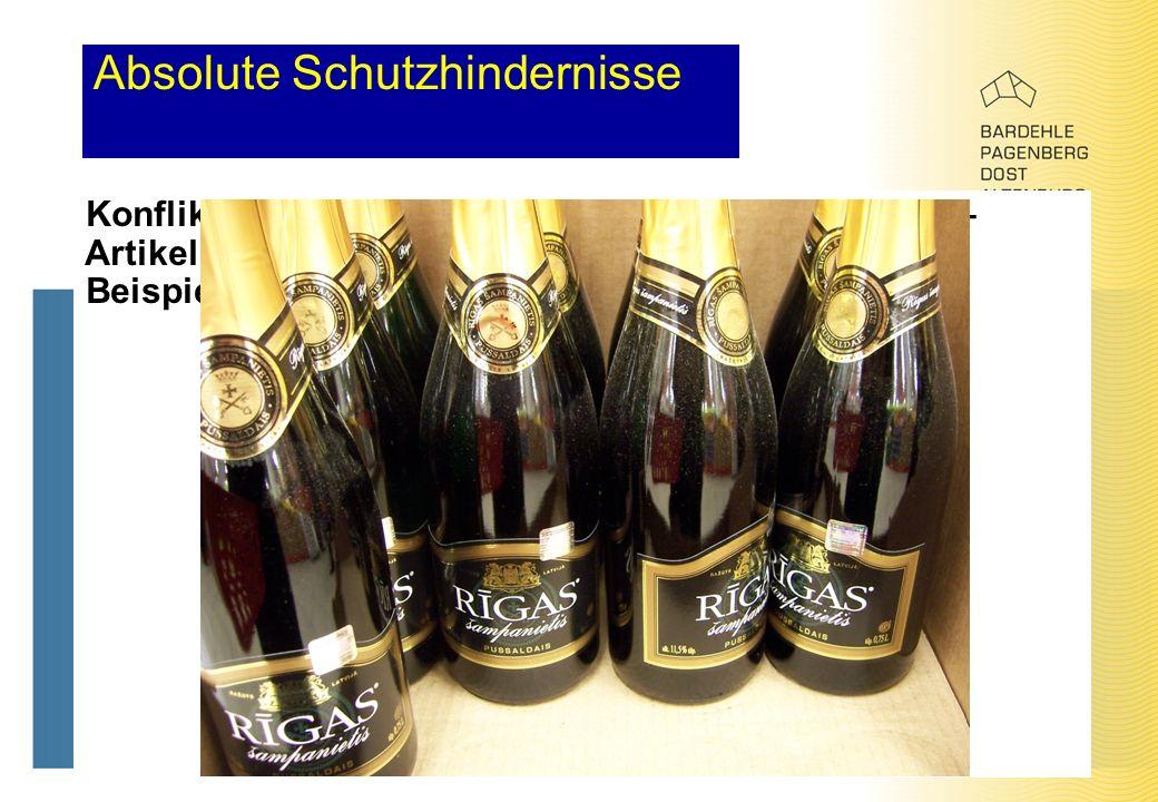 Absolute Schutzhindernisse Konflikt mit geschützten geographischen Angaben – Artikel 7 (1) (j), (k) GMV Beispiel: Champagne