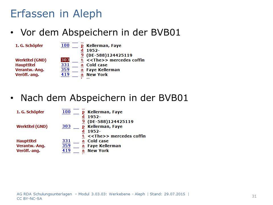 Erfassen in Aleph Vor dem Abspeichern in der BVB01 Nach dem Abspeichern in der BVB01 AG RDA Schulungsunterlagen – Modul 3.03.03: Werkebene - Aleph | S