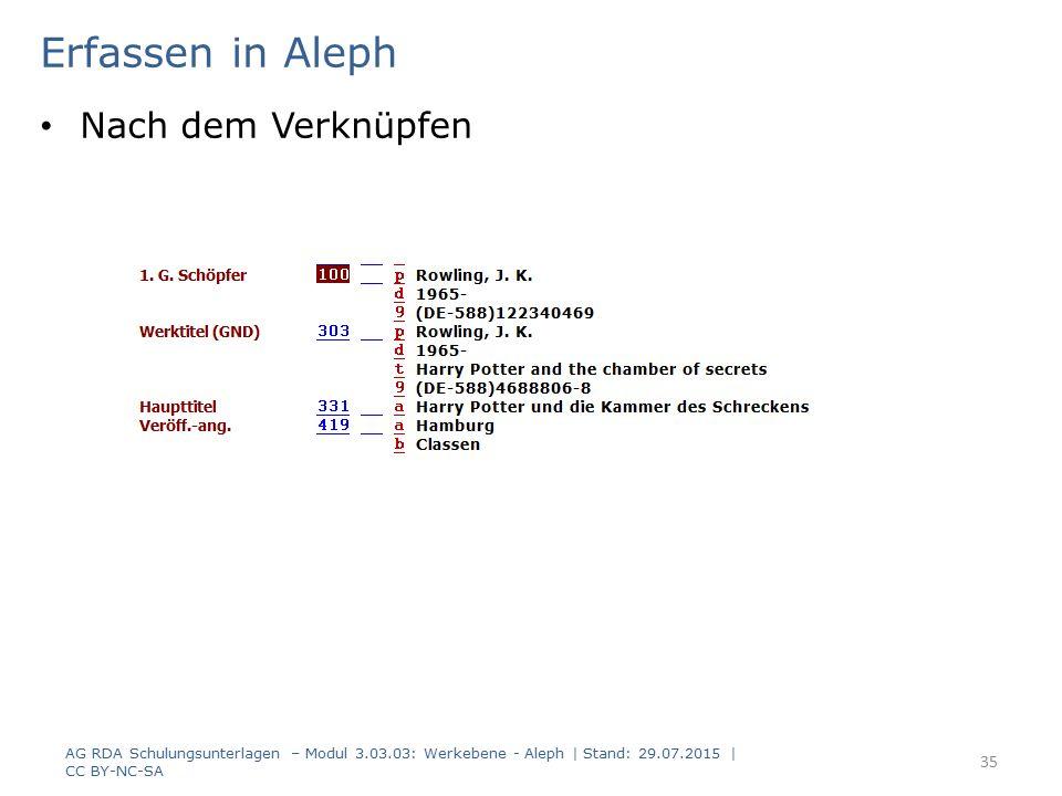 Erfassen in Aleph Nach dem Verknüpfen AG RDA Schulungsunterlagen – Modul 3.03.03: Werkebene - Aleph | Stand: 29.07.2015 | CC BY-NC-SA 35