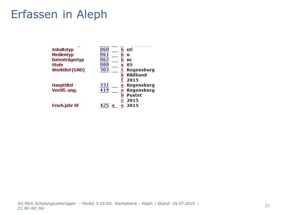 Erfassen in Aleph AG RDA Schulungsunterlagen – Modul 3.03.03: Werkebene - Aleph | Stand: 29.07.2015 | CC BY-NC-SA 37