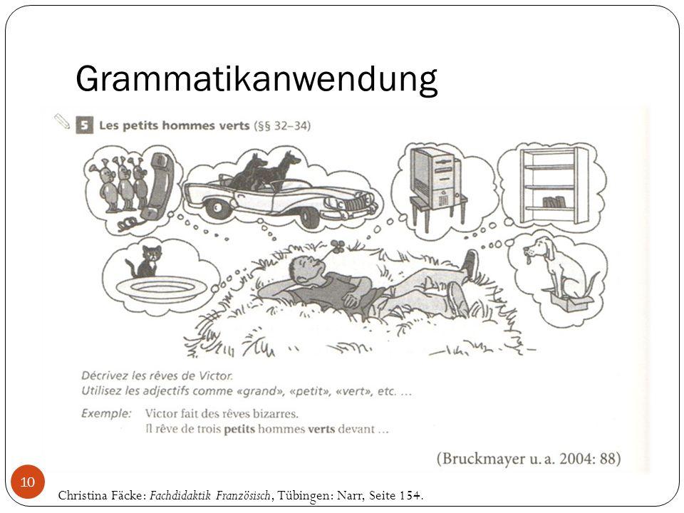 Grammatikanwendung Christina Fäcke: Fachdidaktik Französisch, Tübingen: Narr, Seite 154. 10