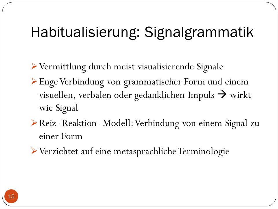 Habitualisierung: Signalgrammatik  Vermittlung durch meist visualisierende Signale  Enge Verbindung von grammatischer Form und einem visuellen, verbalen oder gedanklichen Impuls  wirkt wie Signal  Reiz- Reaktion- Modell: Verbindung von einem Signal zu einer Form  Verzichtet auf eine metasprachliche Terminologie 15