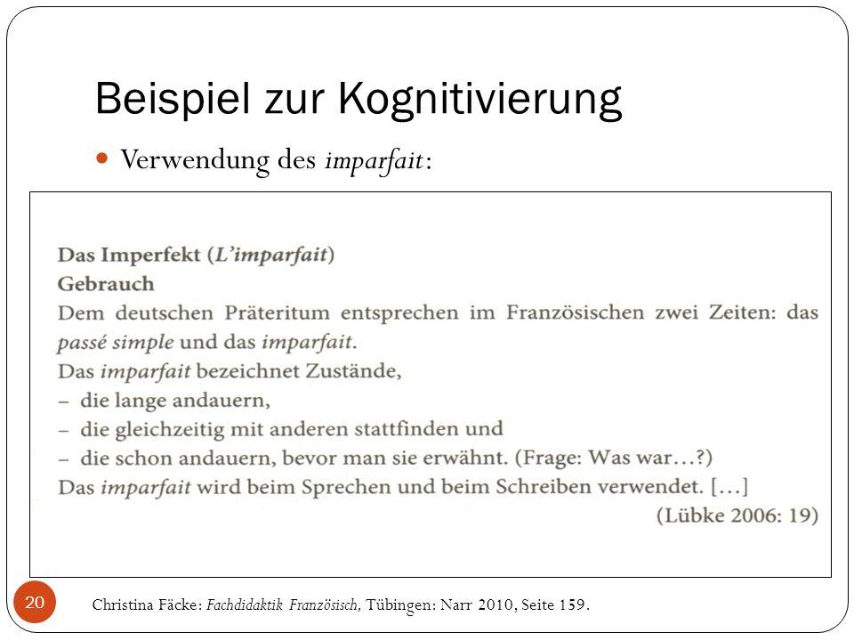 Beispiel zur Kognitivierung Verwendung des imparfait: Christina Fäcke: Fachdidaktik Französisch, Tübingen: Narr 2010, Seite 159.