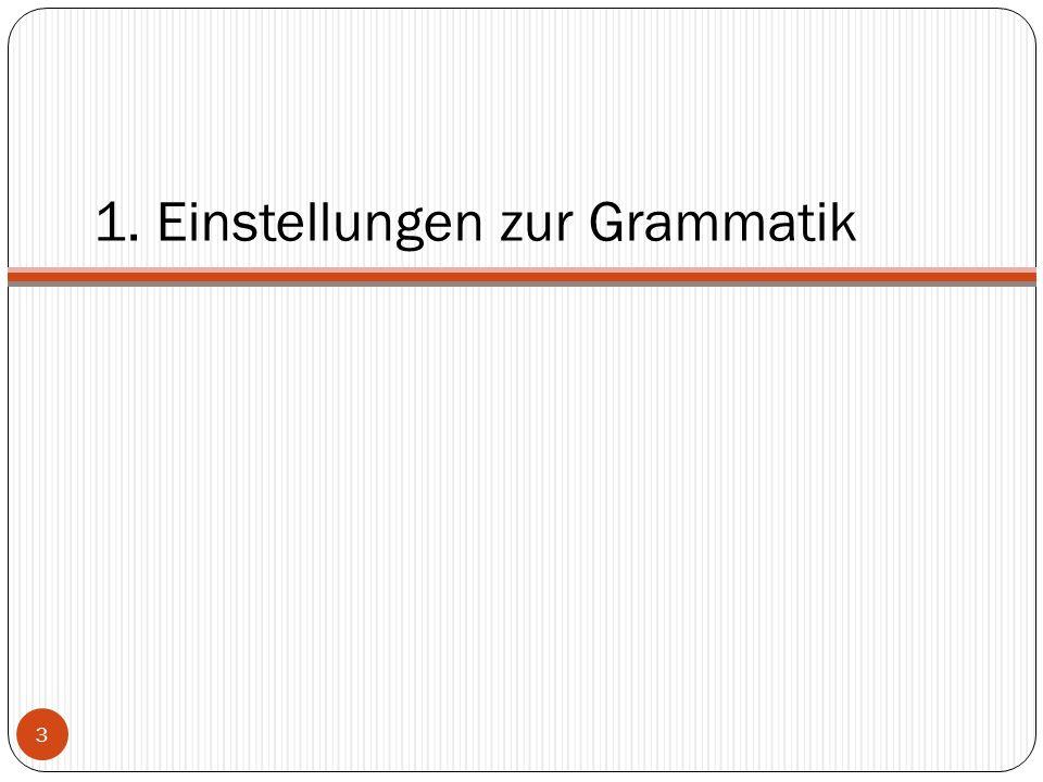 """Die Lehrerperspektive 77,1% der befragten Lehrer unterrichten Grammatik """"sehr gern oder """"gern Grammatikarbeit füllt 40-60% der Gesamtunterrichtszeit aus  80% der befragten Lehrer halten dies für angemessen  Grammatikarbeit genießt im Unterricht einen hohen Stellenwert 4"""