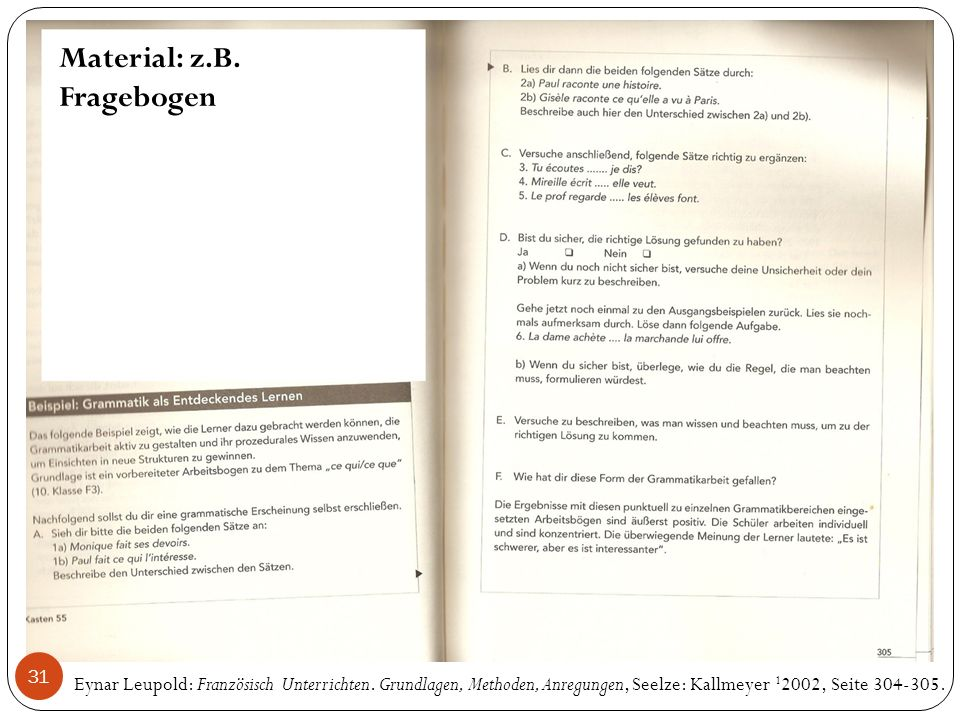 Material: z.B. Fragebogen Eynar Leupold: Französisch Unterrichten.