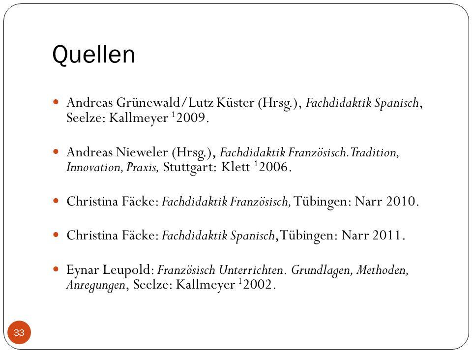 Quellen Andreas Grünewald/Lutz Küster (Hrsg.), Fachdidaktik Spanisch, Seelze: Kallmeyer 1 2009.