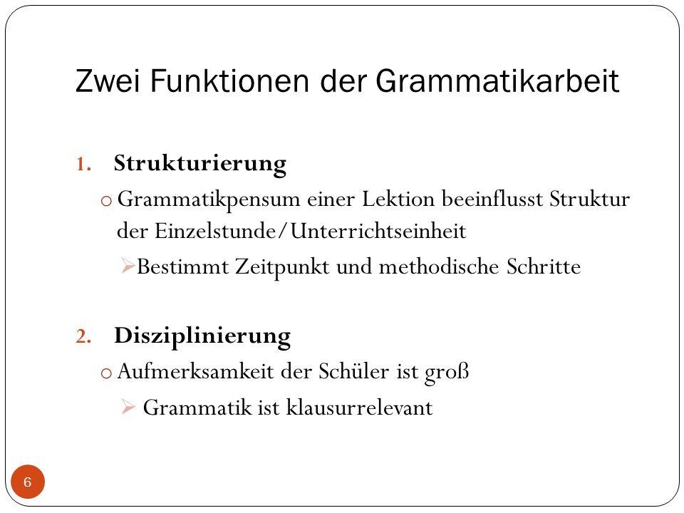 Zwei Funktionen der Grammatikarbeit 1.