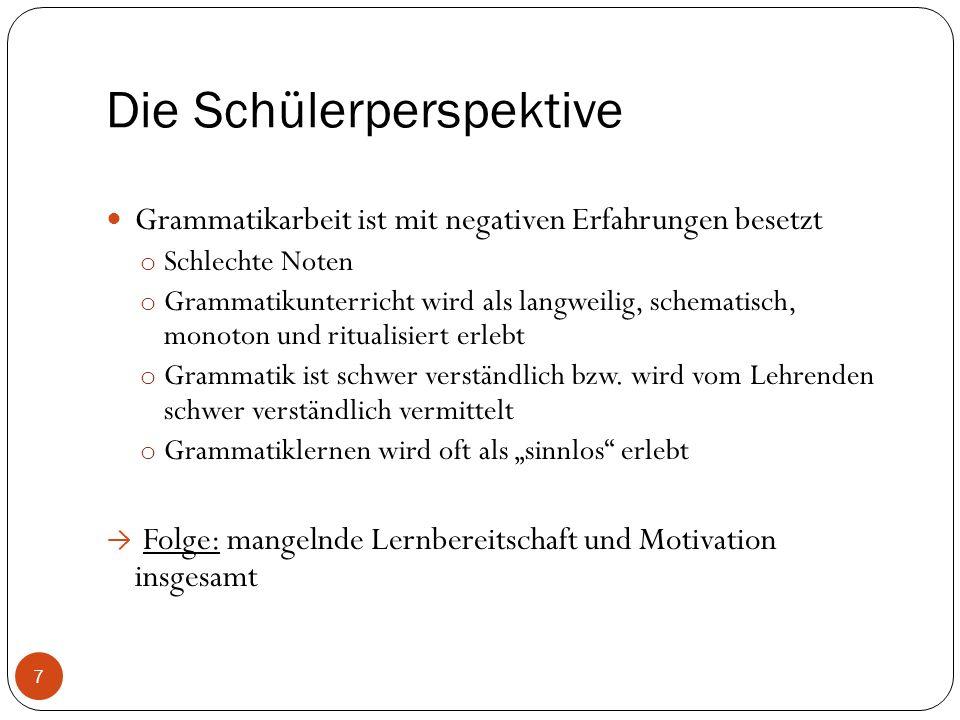Grammatik mittels Instruktion Lehrerzentrierte Phasen: Wiederholungsphase, wegen zeitlichen Mangel, bei schwachen Schülern Grammatik als nützlich Wichtig.