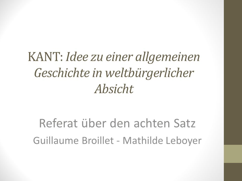 A. INTUITIVE BEANTWORTUNG (OHNE KANT)