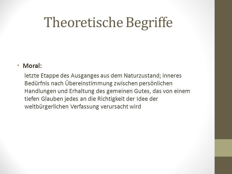 Theoretische Begriffe Moral: letzte Etappe des Ausganges aus dem Naturzustand; inneres Bedürfnis nach Übereinstimmung zwischen persönlichen Handlungen