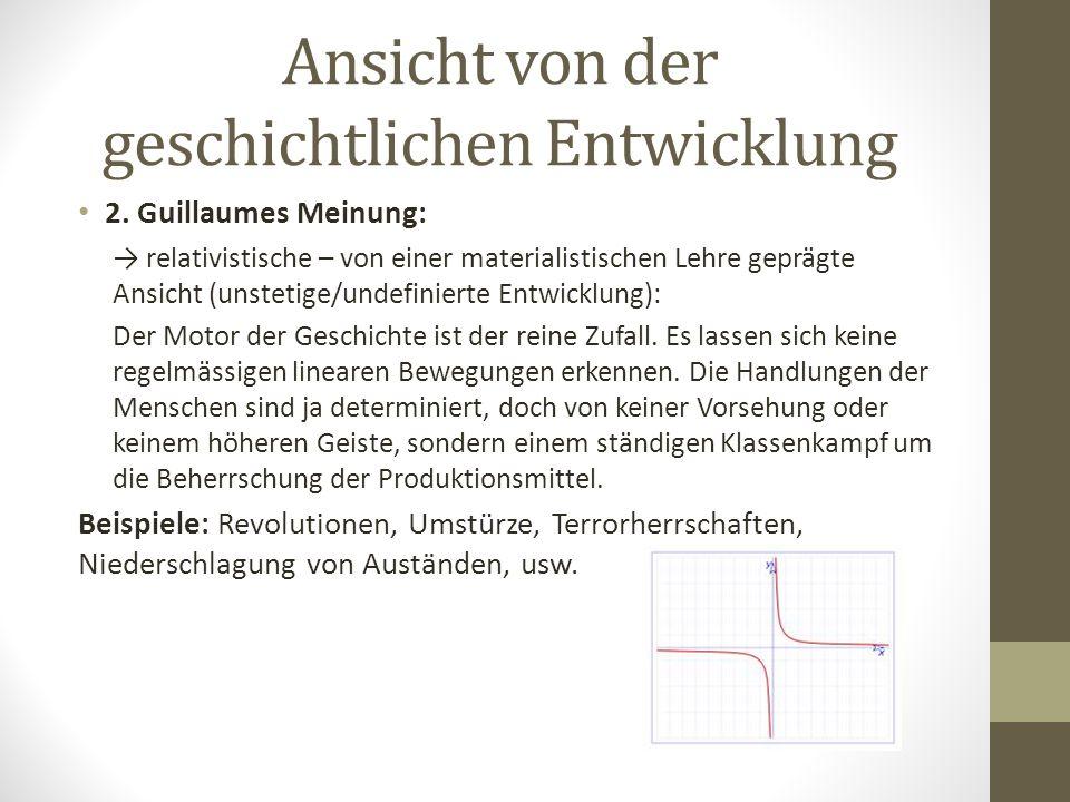 Ansicht von der geschichtlichen Entwicklung 2. Guillaumes Meinung: → relativistische – von einer materialistischen Lehre geprägte Ansicht (unstetige/u