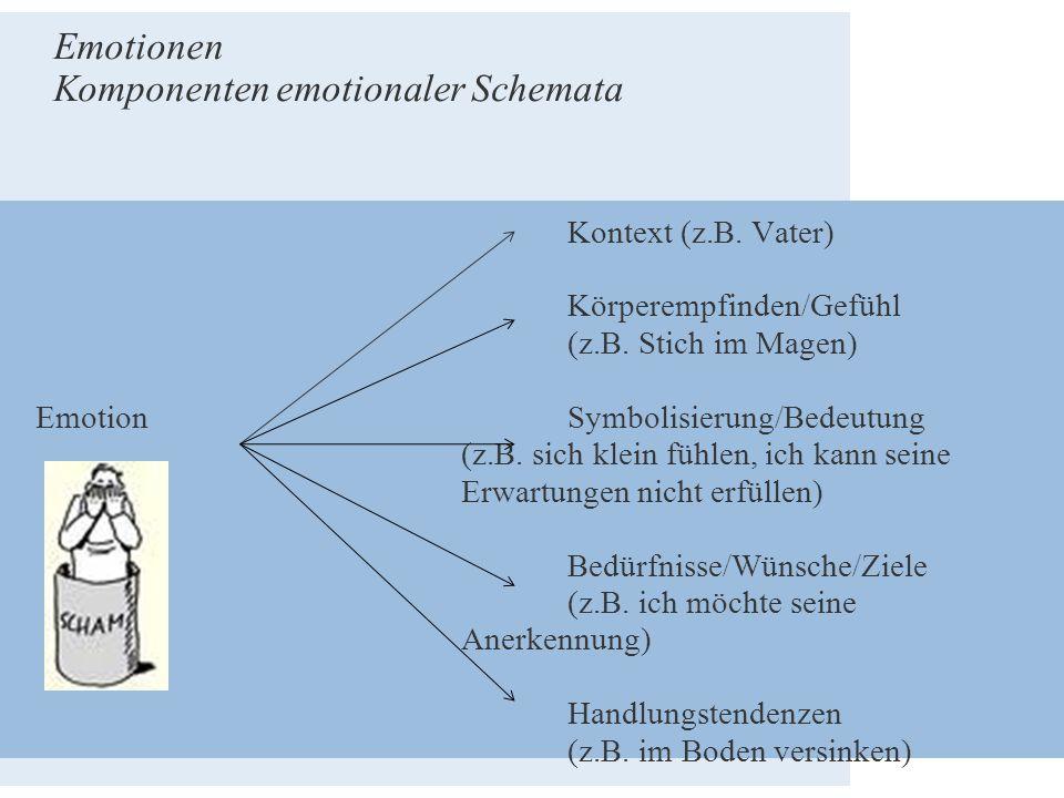 Kontext (z.B. Vater) Körperempfinden/Gefühl (z.B. Stich im Magen) Emotion Symbolisierung/Bedeutung (z.B. sich klein fühlen, ich kann seine Erwartungen