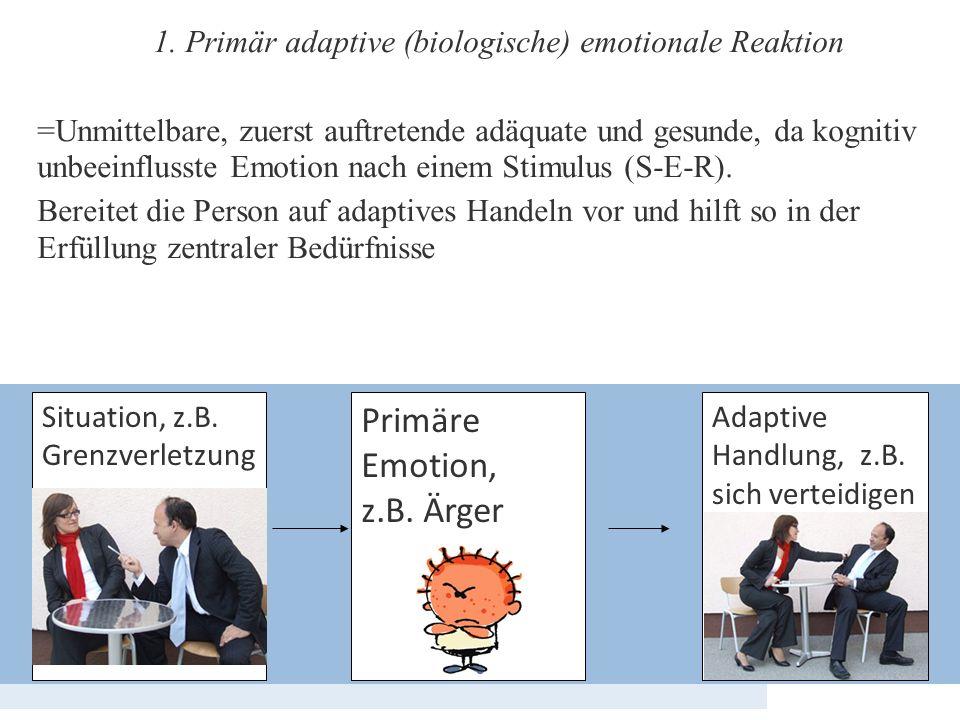 1. Primär adaptive (biologische) emotionale Reaktion =Unmittelbare, zuerst auftretende adäquate und gesunde, da kognitiv unbeeinflusste Emotion nach e