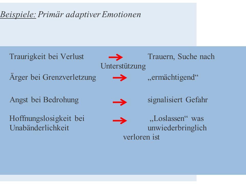 """Beispiele: Primär adaptiver Emotionen Traurigkeit bei Verlust Trauern, Suche nach Unterstützung Ärger bei Grenzverletzung """"ermächtigend"""" Angst bei Bed"""