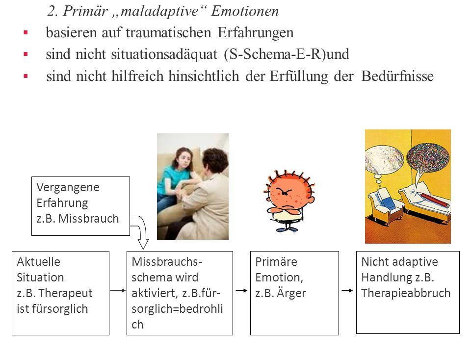 """2. Primär """"maladaptive"""" Emotionen  basieren auf traumatischen Erfahrungen  sind nicht situationsadäquat (S-Schema-E-R)und  sind nicht hilfreich hin"""