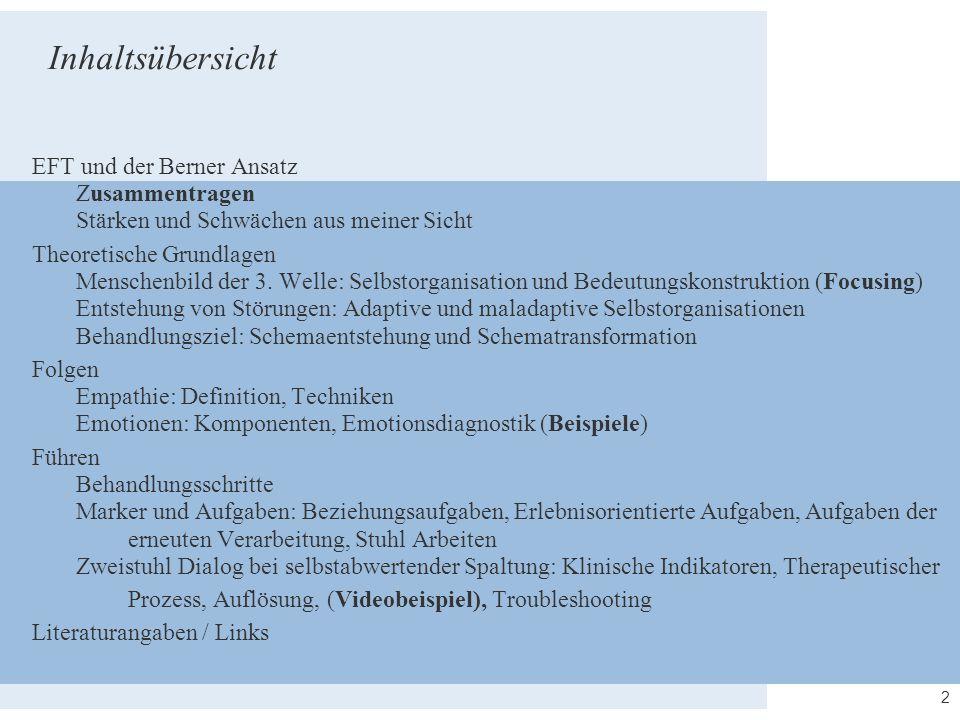 2 Inhaltsübersicht EFT und der Berner Ansatz Zusammentragen Stärken und Schwächen aus meiner Sicht Theoretische Grundlagen Menschenbild der 3. Welle: