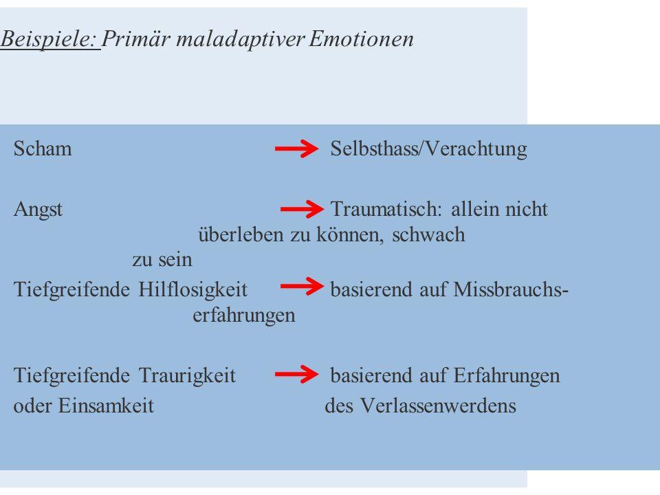 Beispiele: Primär maladaptiver Emotionen Scham Selbsthass/Verachtung Angst Traumatisch: allein nicht überleben zu können, schwach zu sein Tiefgreifend