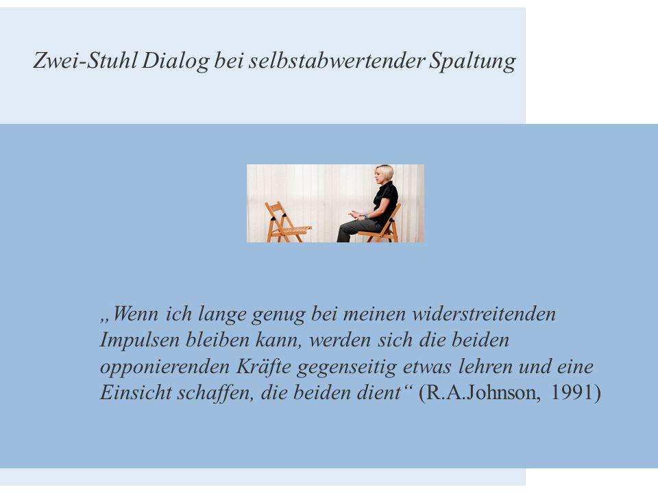 """Zwei-Stuhl Dialog bei selbstabwertender Spaltung """"Wenn ich lange genug bei meinen widerstreitenden Impulsen bleiben kann, werden sich die beiden oppon"""