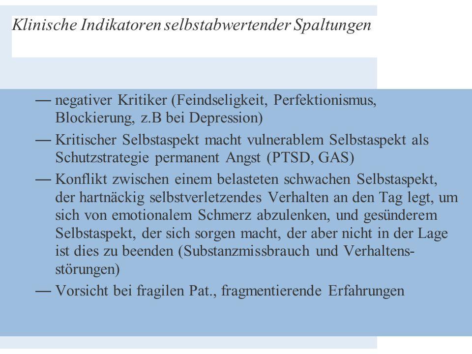 Klinische Indikatoren selbstabwertender Spaltungen —negativer Kritiker (Feindseligkeit, Perfektionismus, Blockierung, z.B bei Depression) —Kritischer