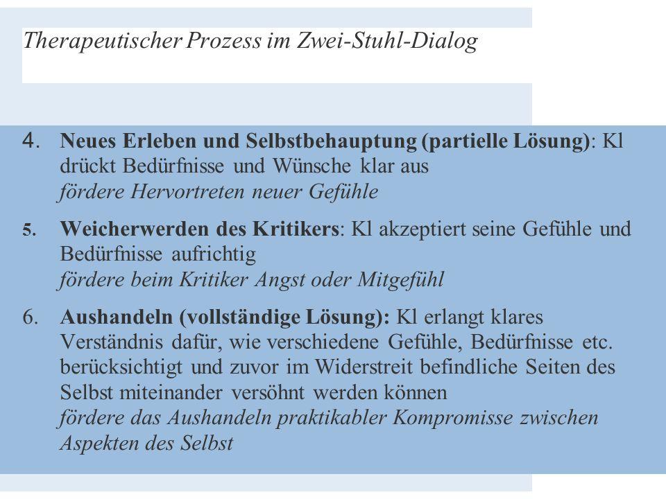 Therapeutischer Prozess im Zwei-Stuhl-Dialog 4. Neues Erleben und Selbstbehauptung (partielle Lösung): Kl drückt Bedürfnisse und Wünsche klar aus förd
