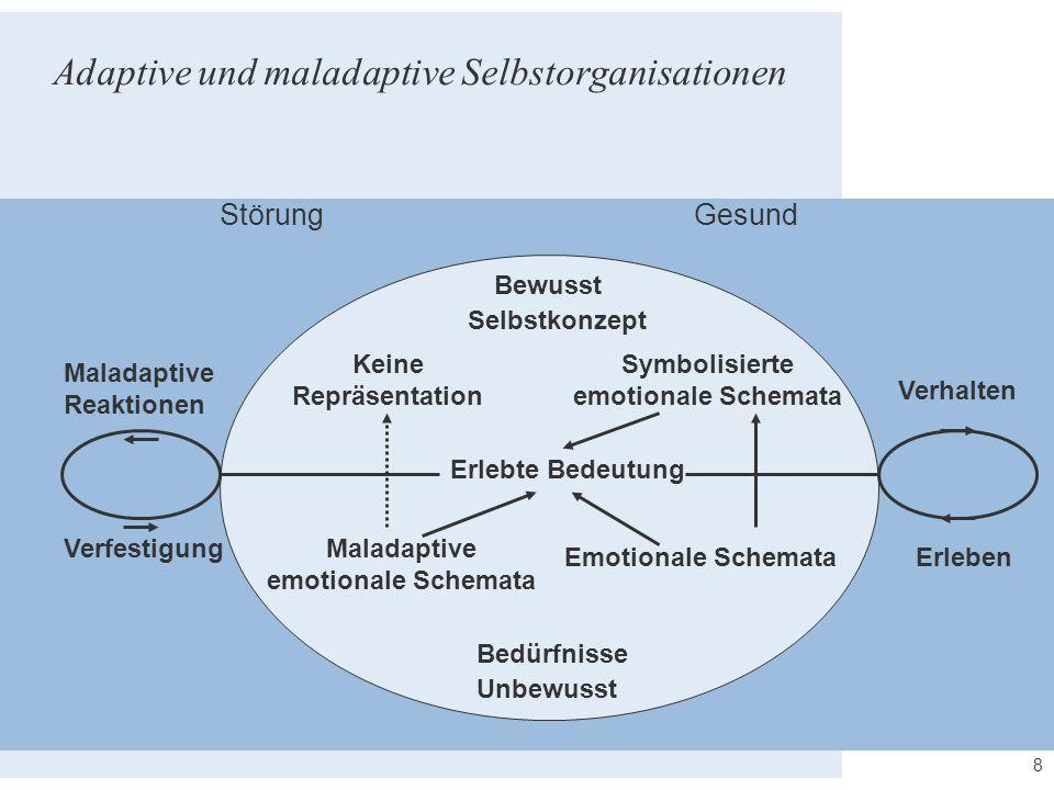 8 Adaptive und maladaptive Selbstorganisationen GesundStörung Bewusst Erlebte Bedeutung Unbewusst Symbolisierte emotionale Schemata Emotionale Schemat