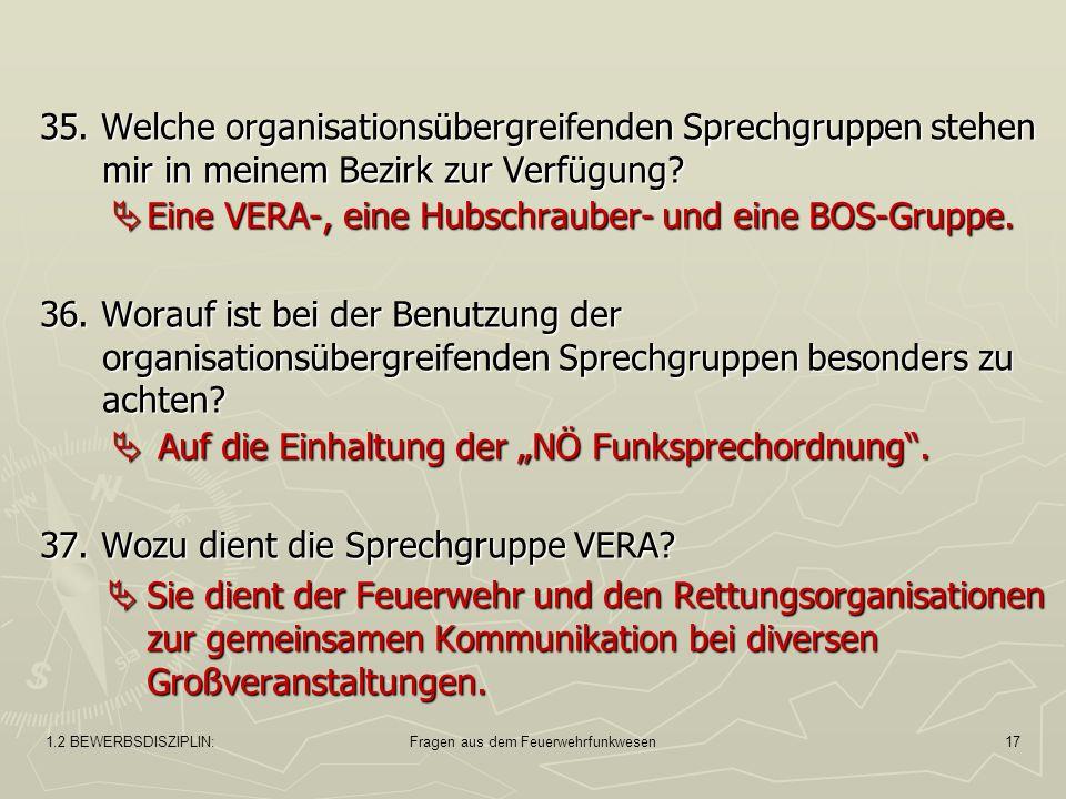 1.2 BEWERBSDISZIPLIN:Fragen aus dem Feuerwehrfunkwesen17 35.
