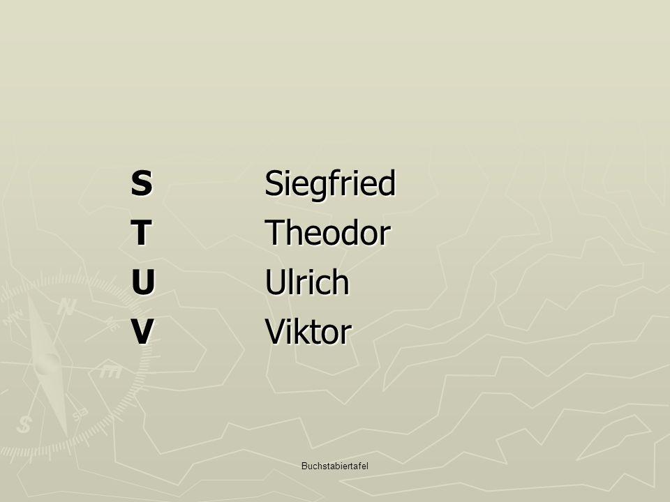 Buchstabiertafel S Siegfried T Theodor U Ulrich V Viktor