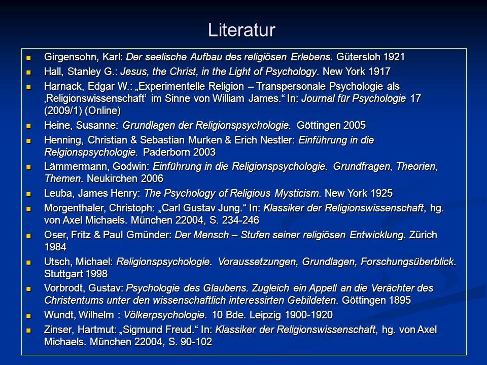 Literatur Girgensohn, Karl: Der seelische Aufbau des religiösen Erlebens. Gütersloh 1921 Girgensohn, Karl: Der seelische Aufbau des religiösen Erleben