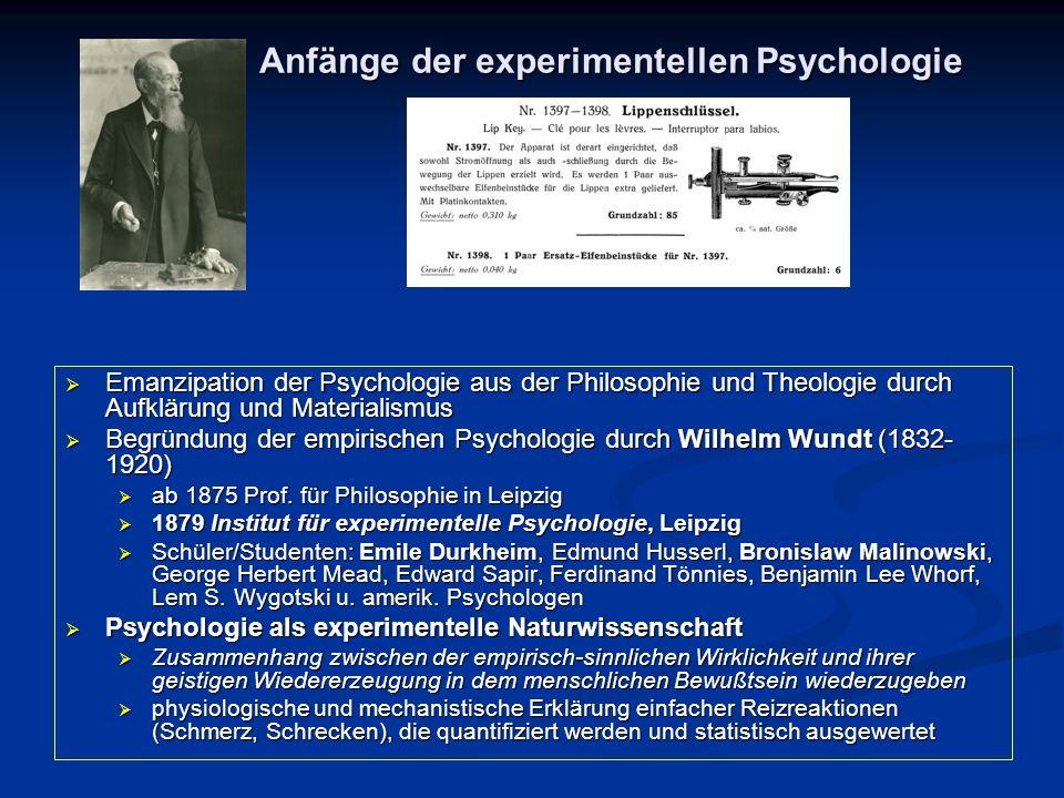  Emanzipation der Psychologie aus der Philosophie und Theologie durch Aufklärung und Materialismus  Begründung der empirischen Psychologie durch Wil
