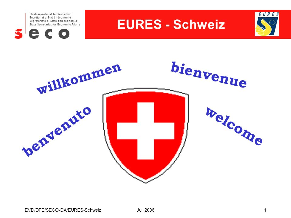EURES - Schweiz Staatssekretariat für Wirtschaft Secrétariat d'Etat à l'économie Segretariato di Stato dell economia State Secretariat for Economic Affairs EVD/DFE/SECO-DA/EURES-SchweizJuli 20061 willkommen benvenuto welcome bienvenue