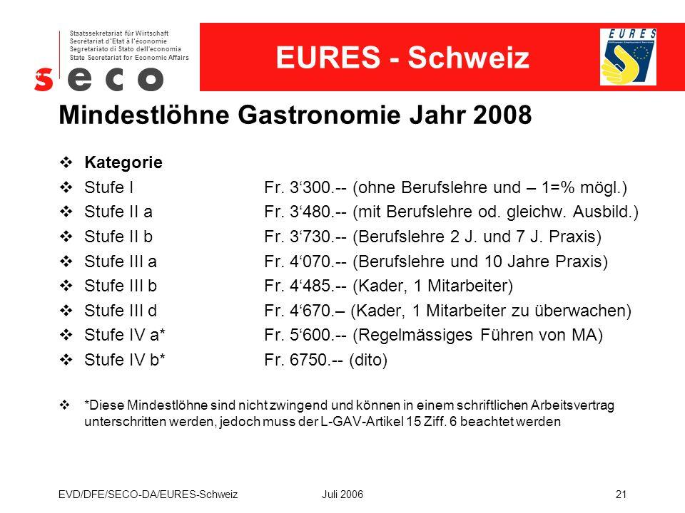 EURES - Schweiz Staatssekretariat für Wirtschaft Secrétariat d'Etat à l'économie Segretariato di Stato dell economia State Secretariat for Economic Affairs EVD/DFE/SECO-DA/EURES-SchweizJuli 200621 Mindestlöhne Gastronomie Jahr 2008  Kategorie  Stufe IFr.
