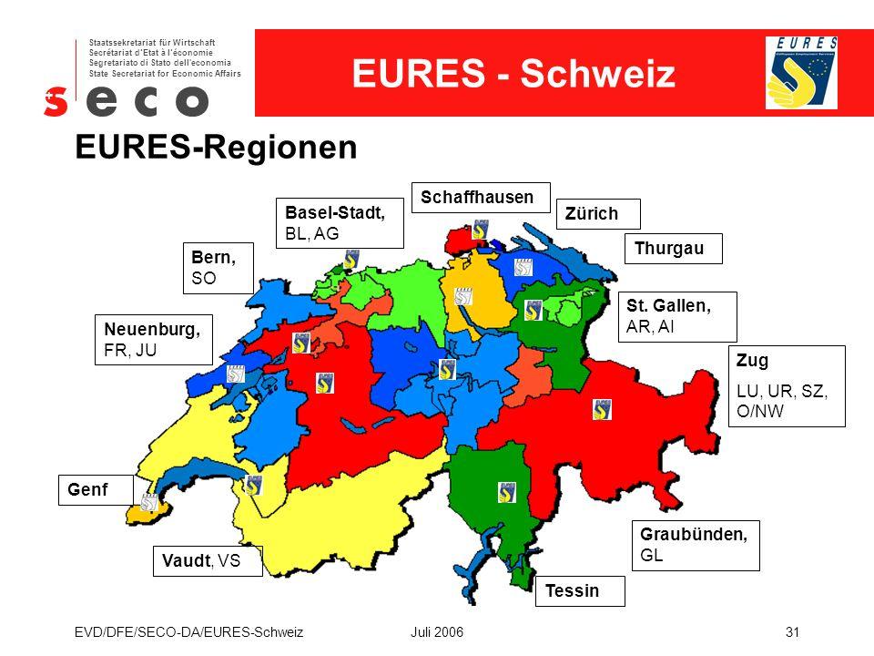 EURES - Schweiz Staatssekretariat für Wirtschaft Secrétariat d'Etat à l'économie Segretariato di Stato dell economia State Secretariat for Economic Affairs EVD/DFE/SECO-DA/EURES-SchweizJuli 200631 EURES-Regionen Basel-Stadt, BL, AG Graubünden, GL Zürich Schaffhausen St.