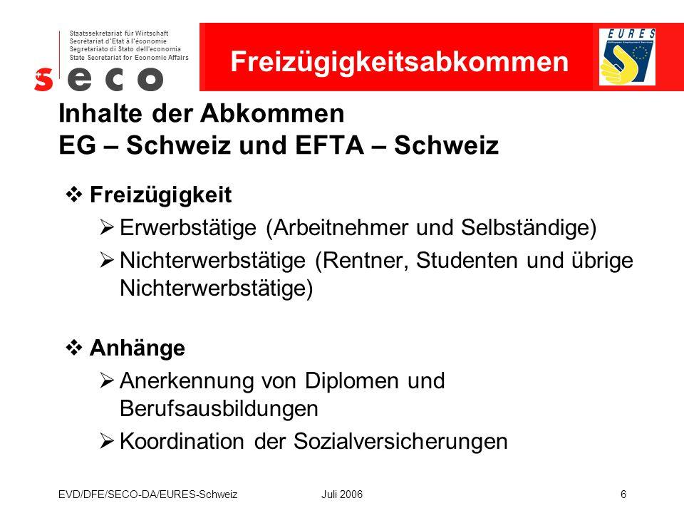 EURES - Schweiz Staatssekretariat für Wirtschaft Secrétariat d'Etat à l'économie Segretariato di Stato dell economia State Secretariat for Economic Affairs EVD/DFE/SECO-DA/EURES-SchweizJuli 20067 Freizügigkeitsrecht für Arbeitnehmer  Gleichbehandlungsgebot (z.