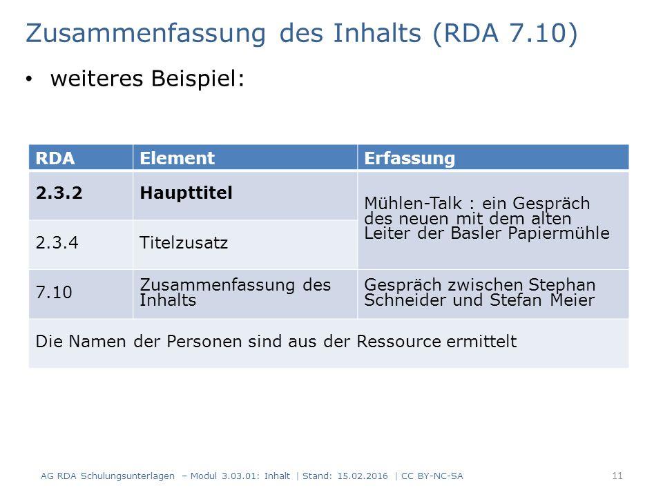 RDAElementErfassung 2.3.2Haupttitel Mühlen-Talk : ein Gespräch des neuen mit dem alten Leiter der Basler Papiermühle 2.3.4Titelzusatz 7.10 Zusammenfas