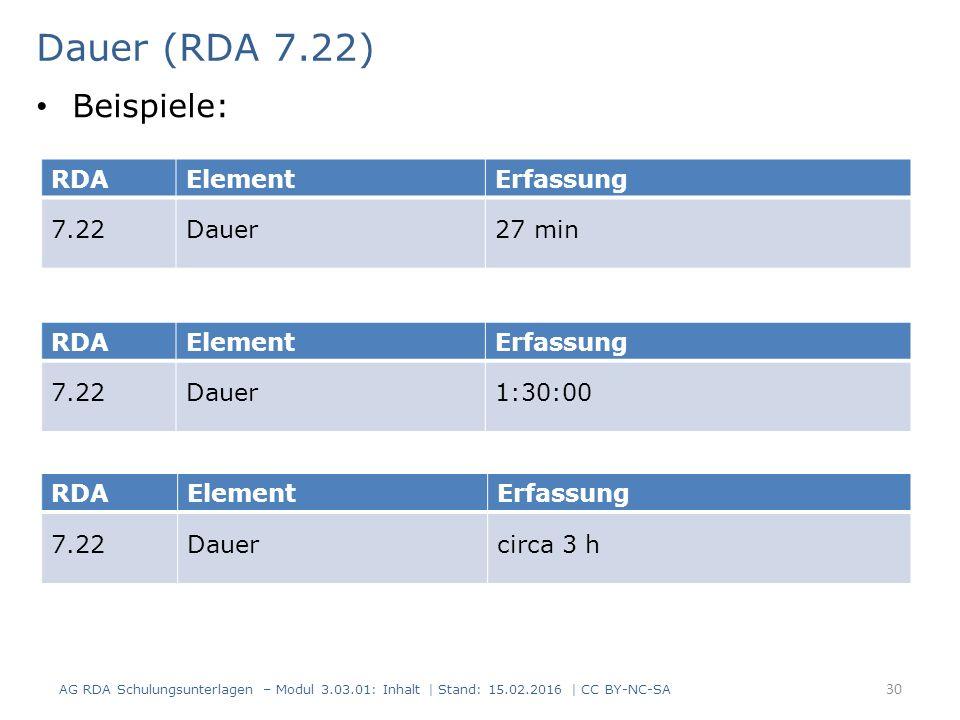 Dauer (RDA 7.22) RDAElementErfassung 7.22Dauer27 min RDAElementErfassung 7.22Dauercirca 3 h Beispiele: RDAElementErfassung 7.22Dauer1:30:00 AG RDA Sch