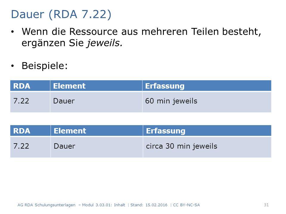 Dauer (RDA 7.22) RDAElementErfassung 7.22Dauer60 min jeweils RDAElementErfassung 7.22Dauercirca 30 min jeweils Wenn die Ressource aus mehreren Teilen