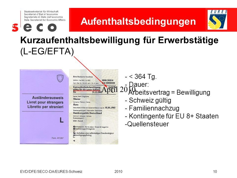 EURES - Schweiz Staatssekretariat für Wirtschaft Secrétariat d'Etat à l'économie Segretariato di Stato dell'economia State Secretariat for Economic Af