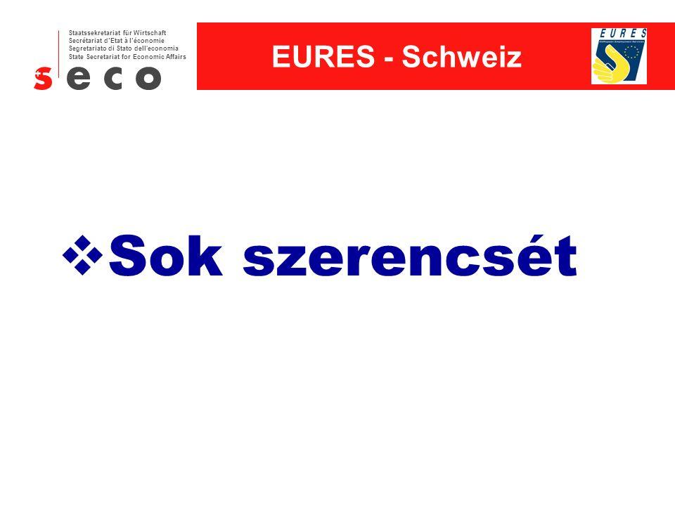 EURES - Schweiz Staatssekretariat für Wirtschaft Secrétariat d'Etat à l'économie Segretariato di Stato dell economia State Secretariat for Economic Affairs  Sok szerencsét
