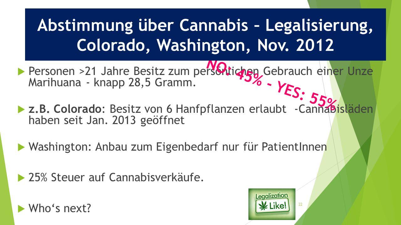 22  Personen >21 Jahre Besitz zum persönlichen Gebrauch einer Unze Marihuana - knapp 28,5 Gramm.