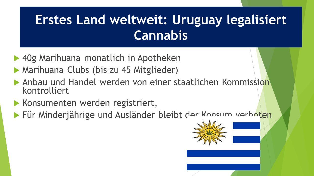 23  40g Marihuana monatlich in Apotheken  Marihuana Clubs (bis zu 45 Mitglieder)  Anbau und Handel werden von einer staatlichen Kommission kontrolliert  Konsumenten werden registriert,  Für Minderjährige und Ausländer bleibt der Konsum verboten Erstes Land weltweit: Uruguay legalisiert Cannabis