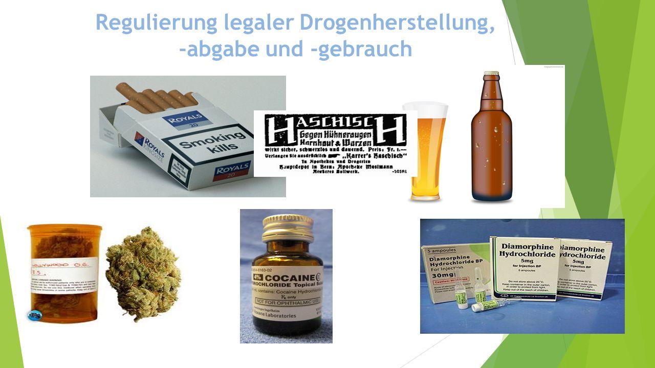 Regulierung legaler Drogenherstellung, -abgabe und -gebrauch